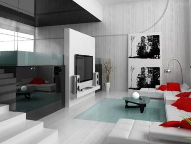 futuristic living room plexiglass