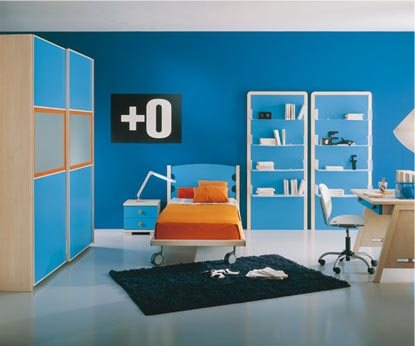 blue orange bedroom