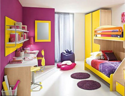 yellow purple bedroom