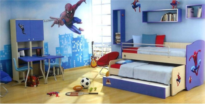 spiderman blue bedroom for boy