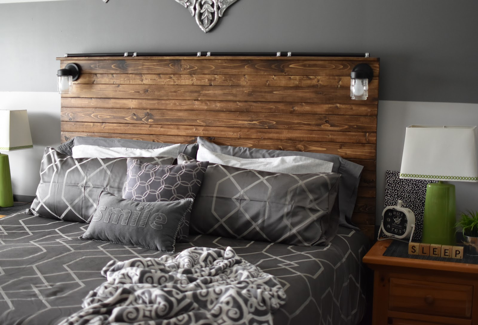 Bedroom in dark gray color
