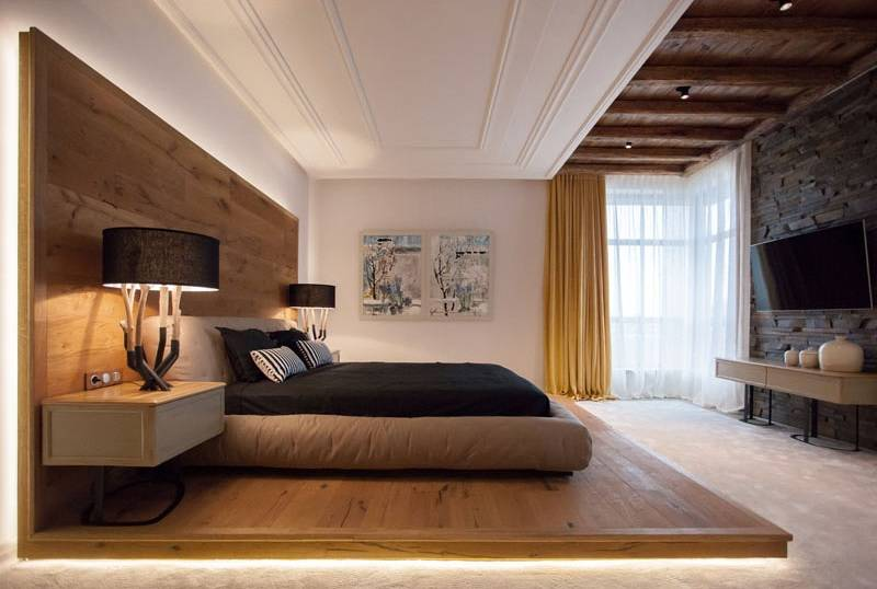 Wooden platform bed with lighting