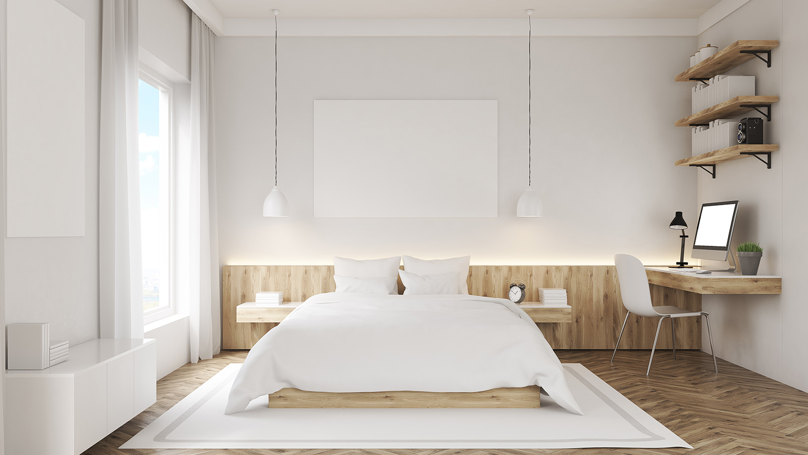 Bright bedroom with wood decor
