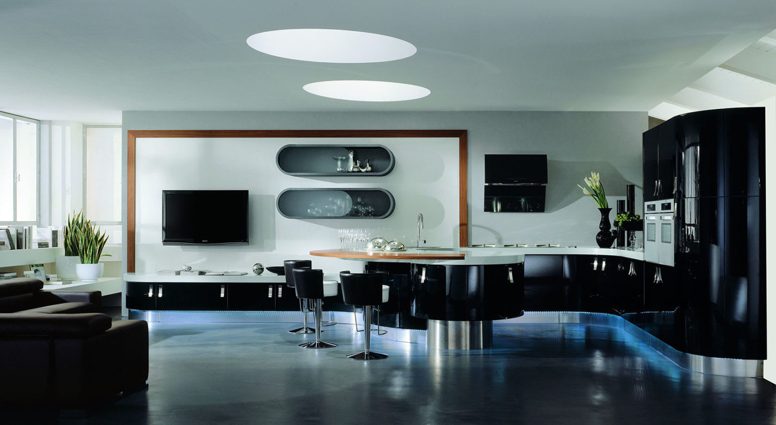 Curved black kitchen