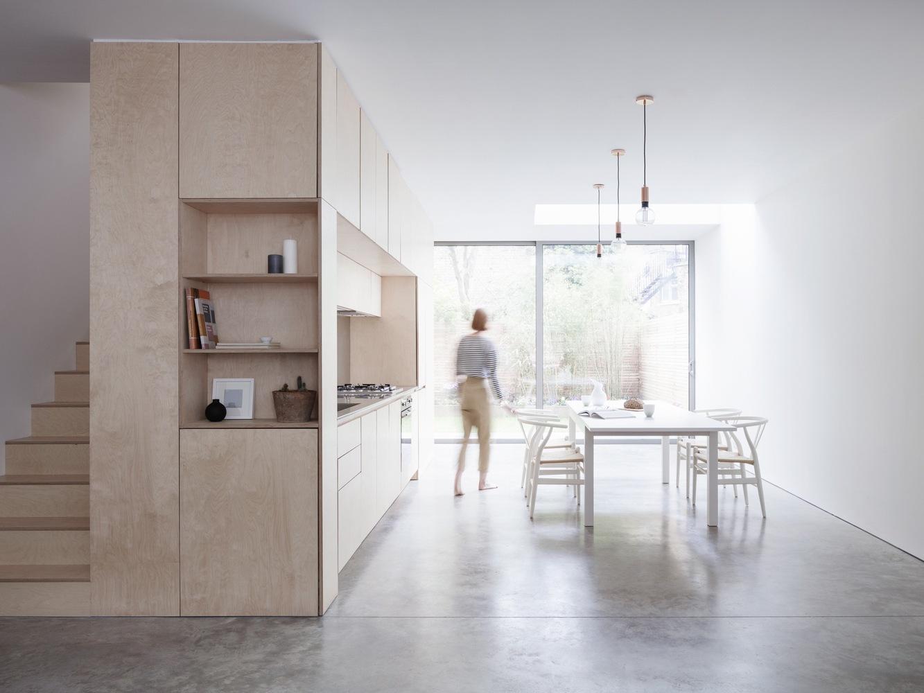 maisonette interior stairs behind kitchen