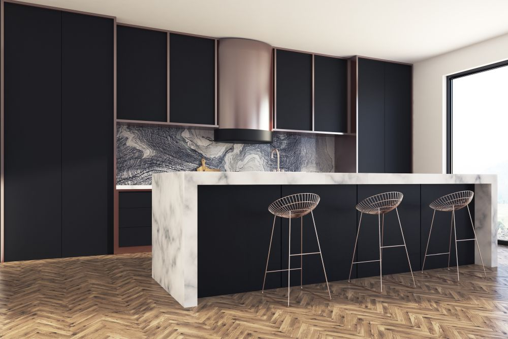 Dark kitchen with marble bar